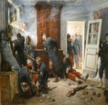 Peinture XIXe Bazeilles Dernières Cartouches Alphonse de Neuville