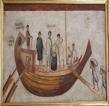 Fresque Rome Italie Ostie Porta Laurentina Marine Bateau Isis Giminiana Vatican