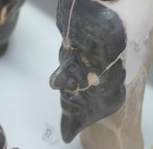 Etrurie Céramique Rhyton Tête Humaine Noire Ferrare