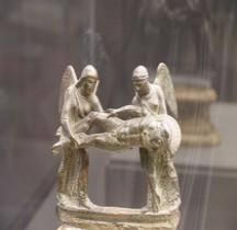 Etrurie Bronze Ciste Poignée Soldat Mort Florene MAF