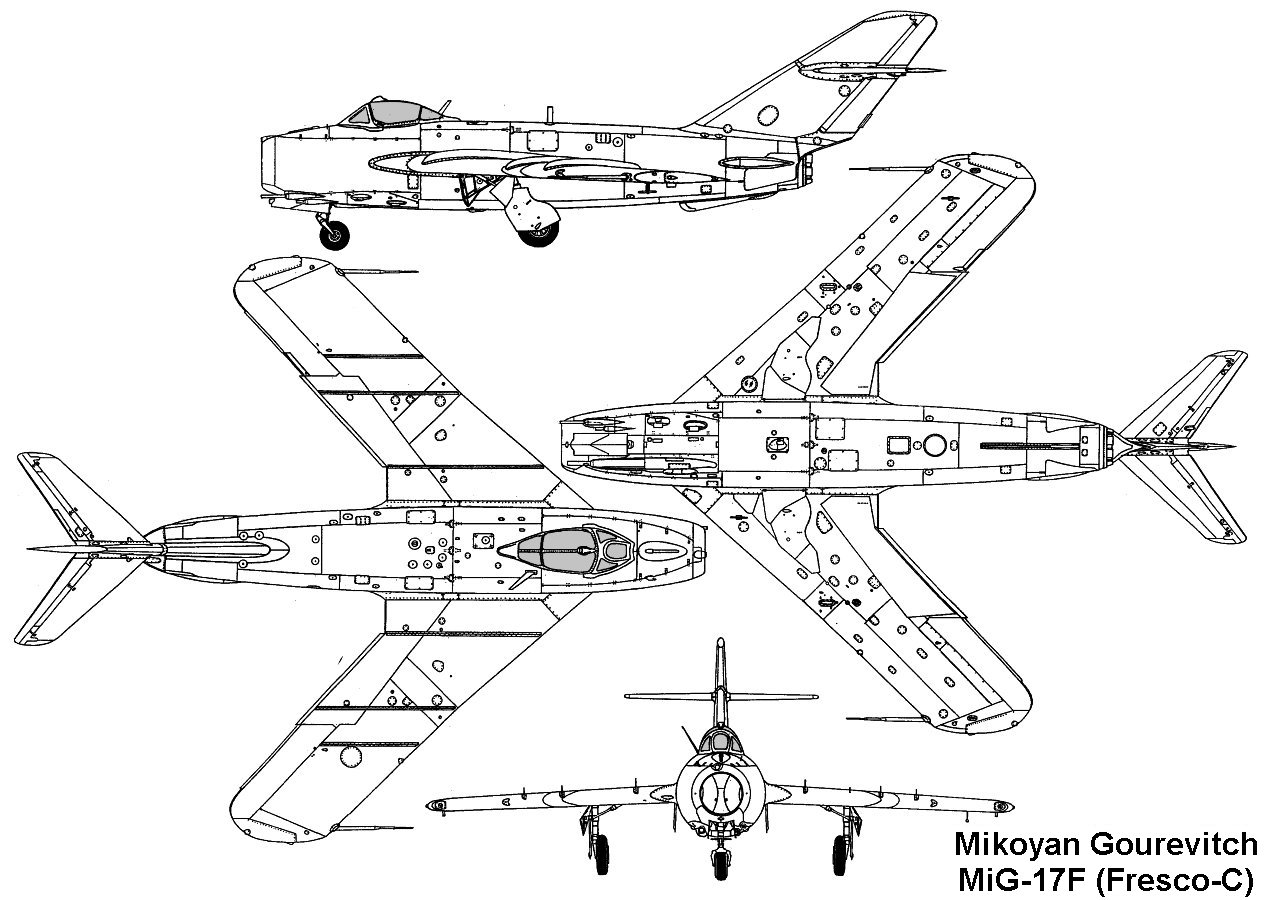 on the outward forms and structures mig 17 had many similarities with the mig 15 the differences were mainly the following wing sweep on the leading edge