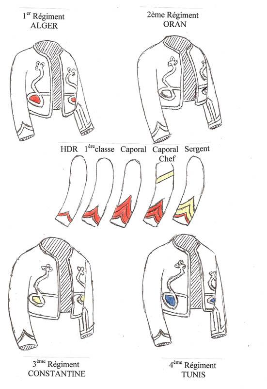 blanc pour le 2ème Régiment ( Oran ), - jaune pour le 3ème Régiment (  Constantine ) et - bleu pour le 4ème Régiment ( Tunis). 5db8d5f714e