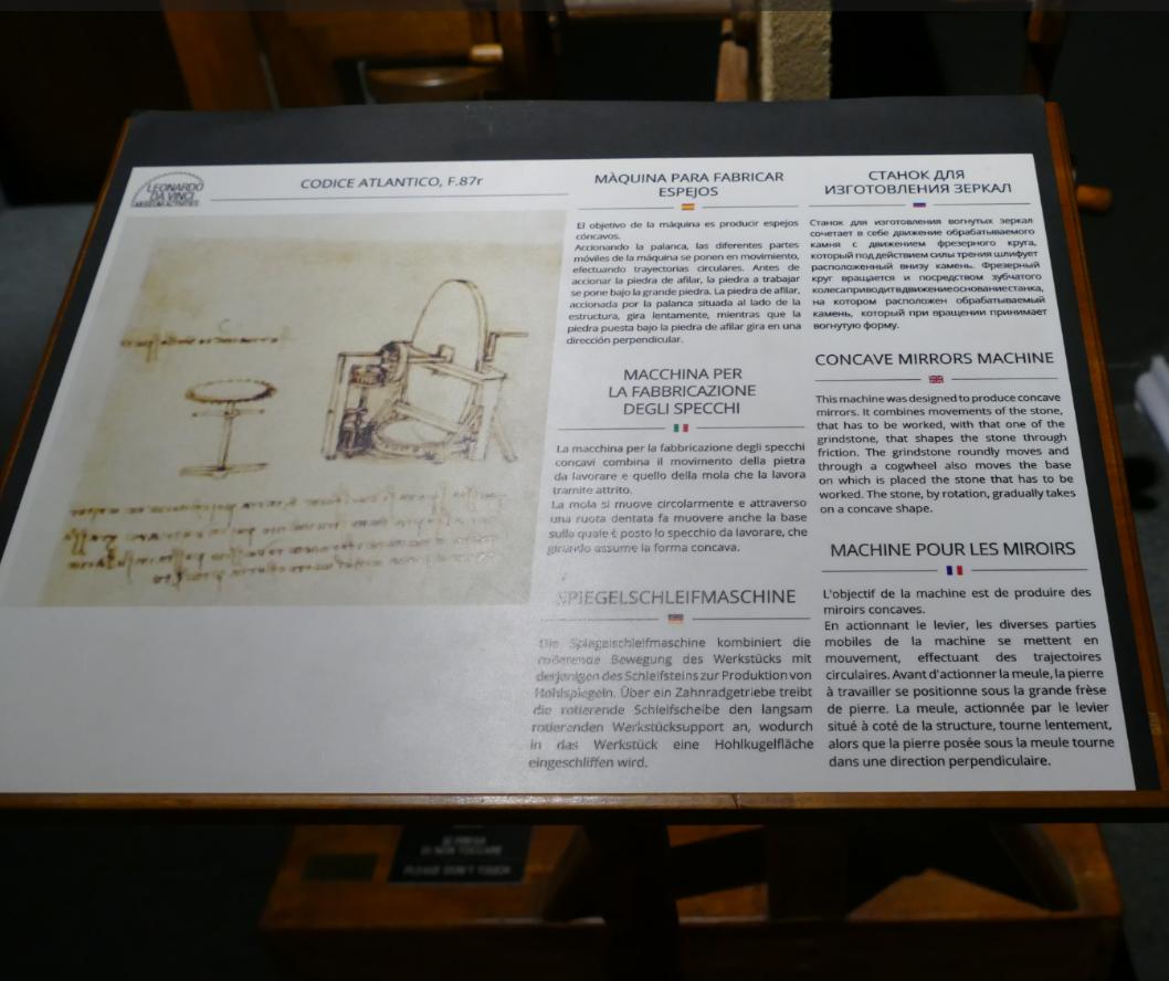 Leonardo Da Vinci Machine 224 Polir Miroirs Florence